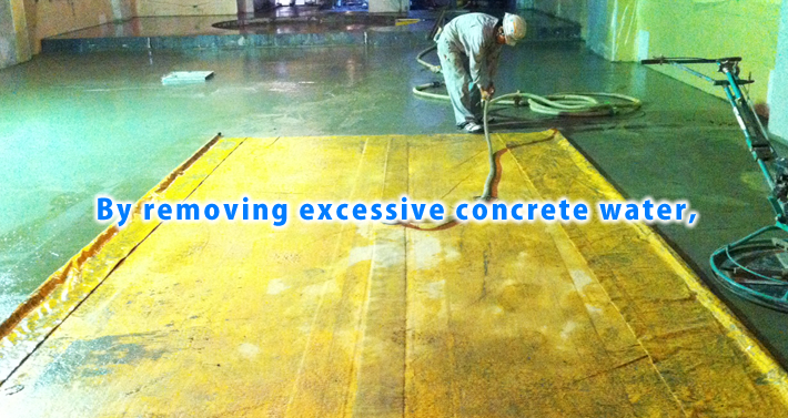 By removing excessive concrete water,