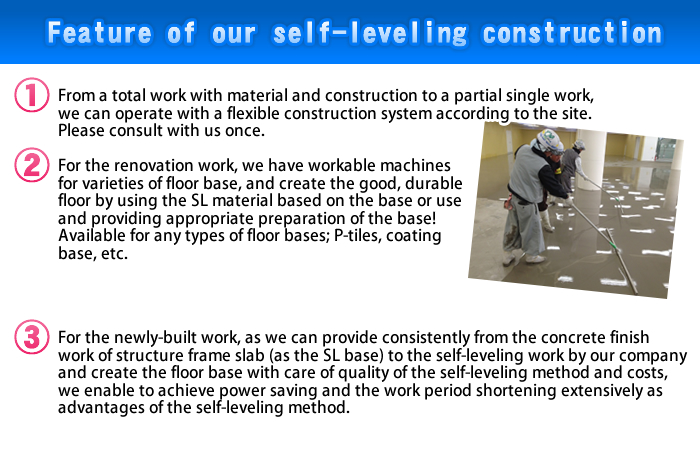 Feature of our self-leveling construction