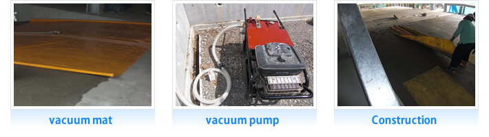 Construction with a vacuum mat and a vacuum pump